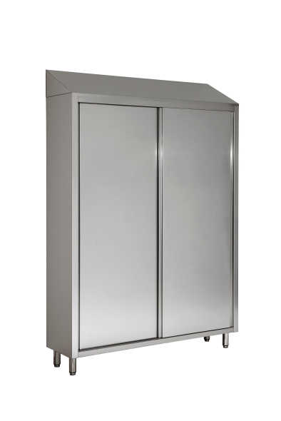 Stainless steel vertical cupboard with sliding doors and sloping roof