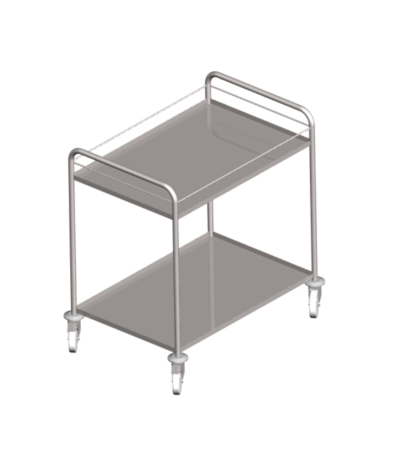 Stainless steel service trolleys with two pressed shelves and fall protection rod