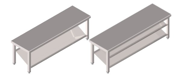 Stainless steel benches with blade shoe shelf