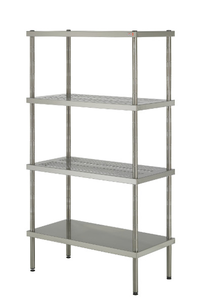Stainless steel shelf with smooth shelves