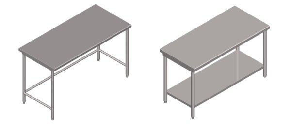 Tavoli in acciaio inox da lavoro serie pesante senza sponda - Tavoli acciaio inox prezzi ...