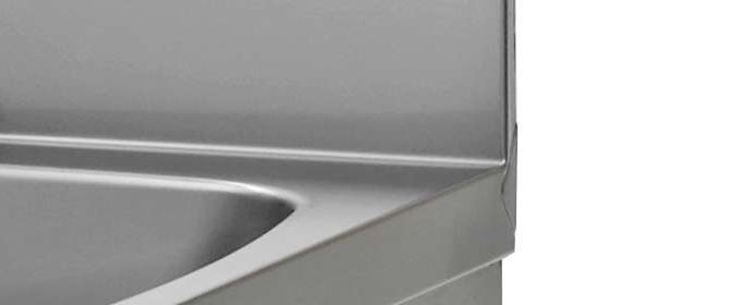 Stainless steel hand-wash basins with knee control and cupboard